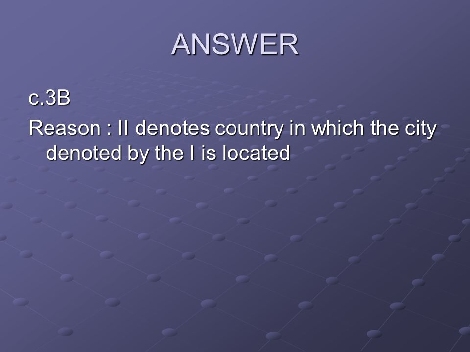 ANSWER c.3B Reason : II denotes country in which the city denoted by the I is located