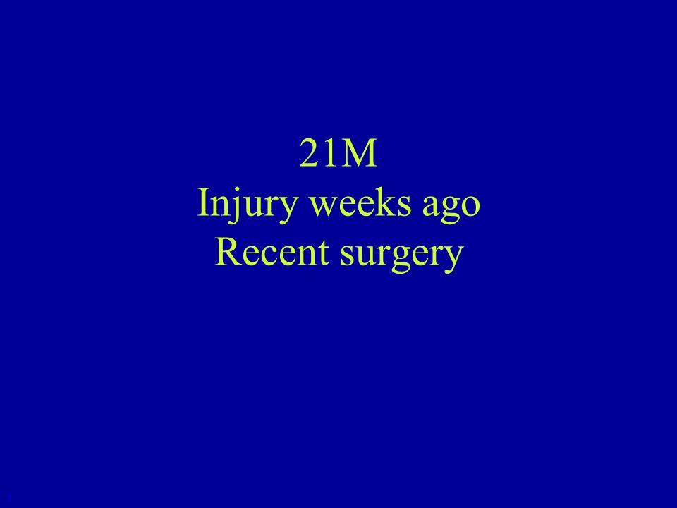21M Injury weeks ago Recent surgery