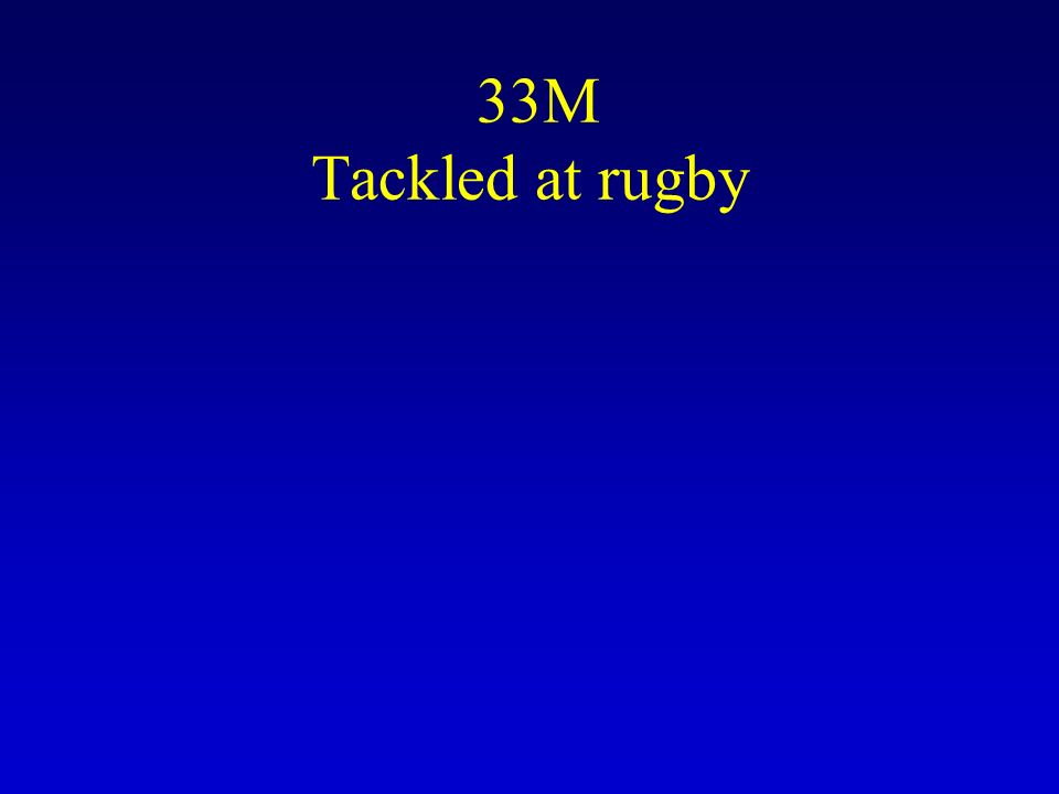 33M Tackled at rugby