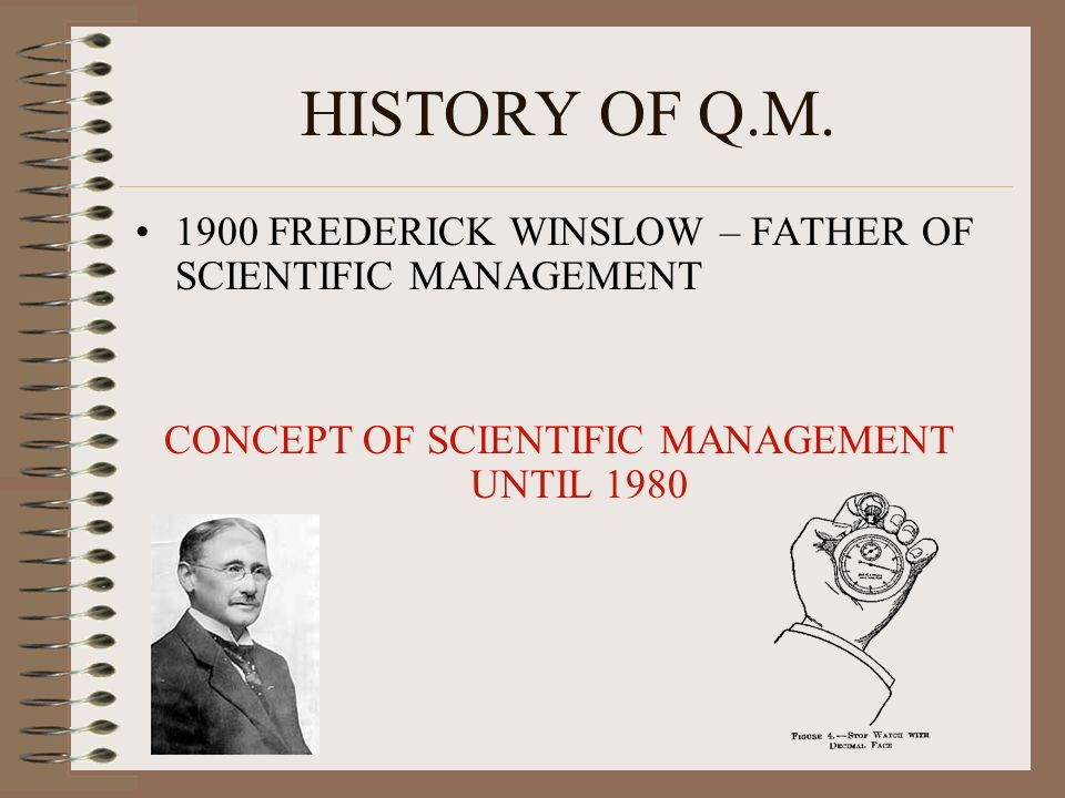CONCEPT OF SCIENTIFIC MANAGEMENT UNTIL 1980