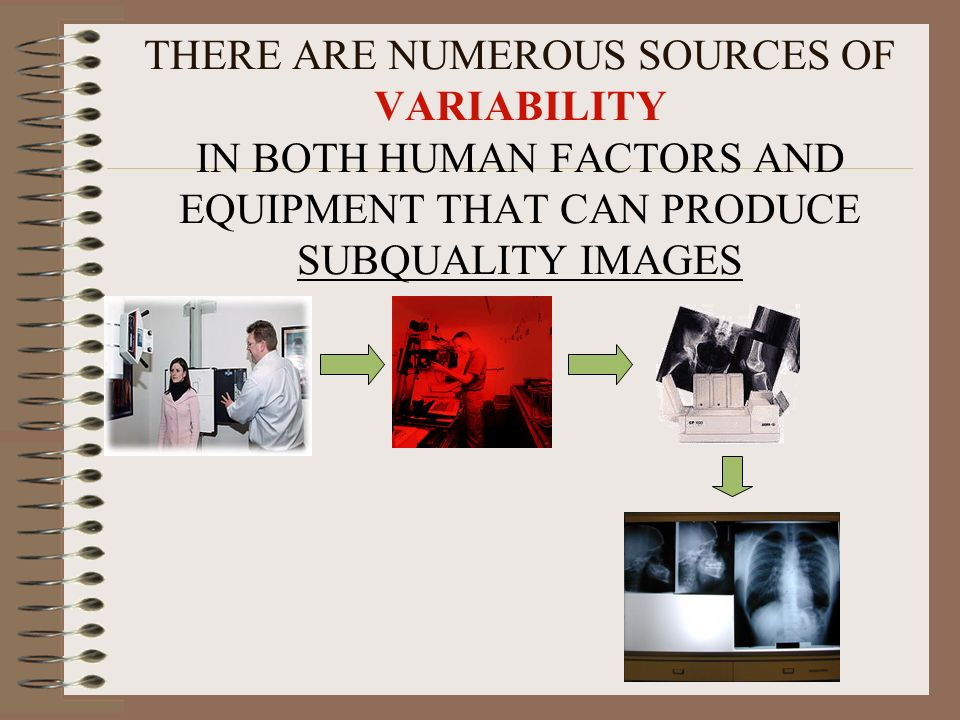 THERE ARE NUMEROUS SOURCES OF VARIABILITY IN BOTH HUMAN FACTORS AND EQUIPMENT THAT CAN PRODUCE SUBQUALITY IMAGES