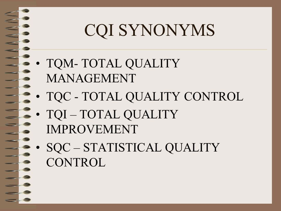 CQI SYNONYMS TQM- TOTAL QUALITY MANAGEMENT TQC - TOTAL QUALITY CONTROL