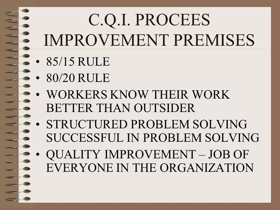 C.Q.I. PROCEES IMPROVEMENT PREMISES