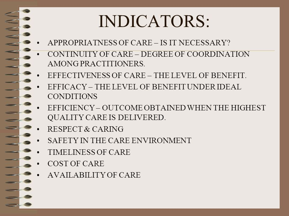 INDICATORS: APPROPRIATNESS OF CARE – IS IT NECESSARY