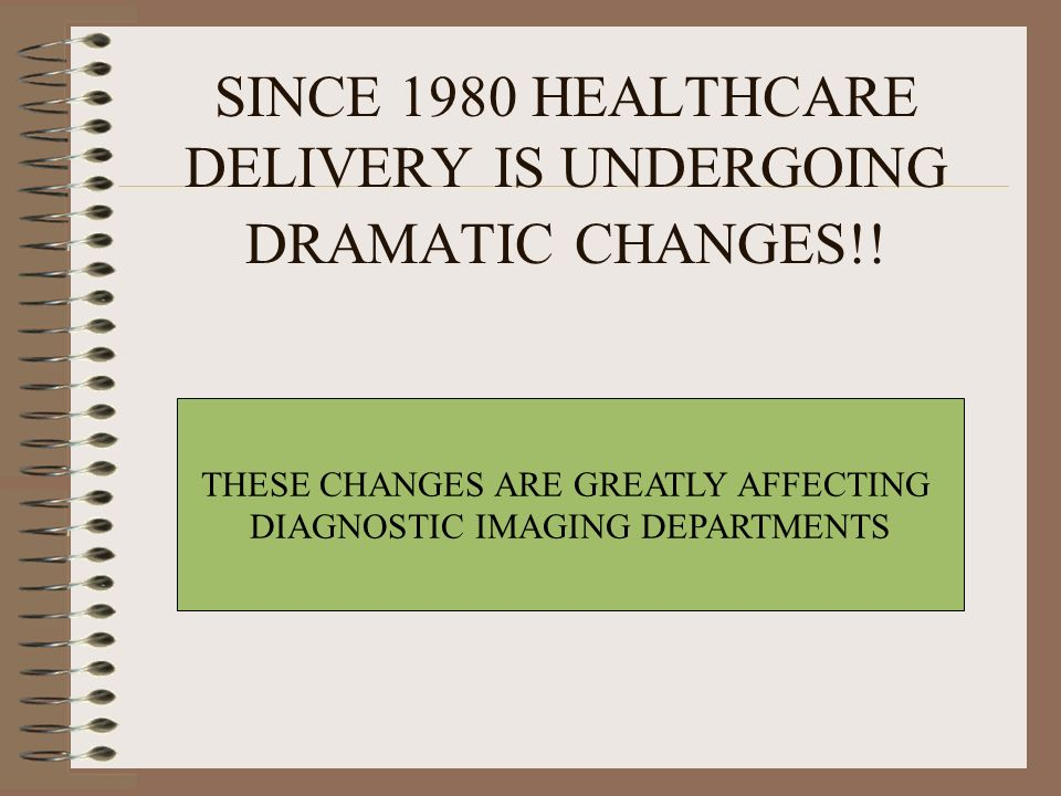 SINCE 1980 HEALTHCARE DELIVERY IS UNDERGOING DRAMATIC CHANGES!!
