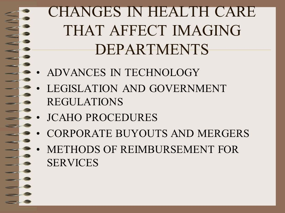 CHANGES IN HEALTH CARE THAT AFFECT IMAGING DEPARTMENTS