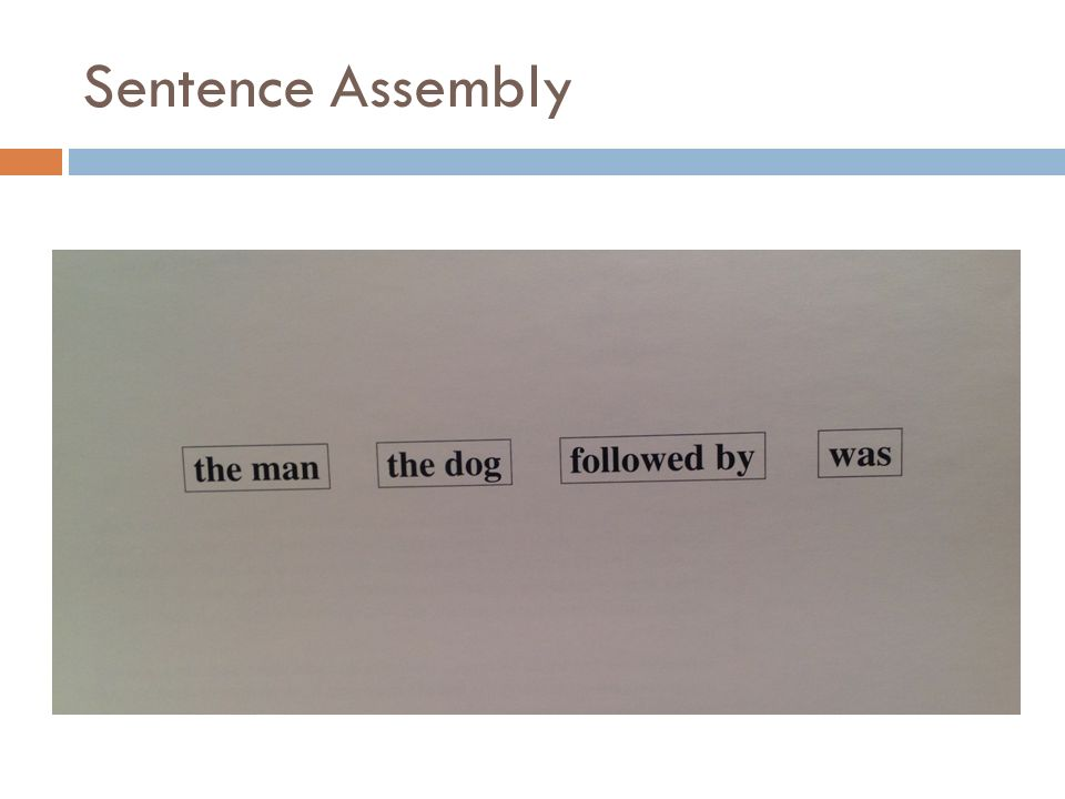 Sentence Assembly SA 1