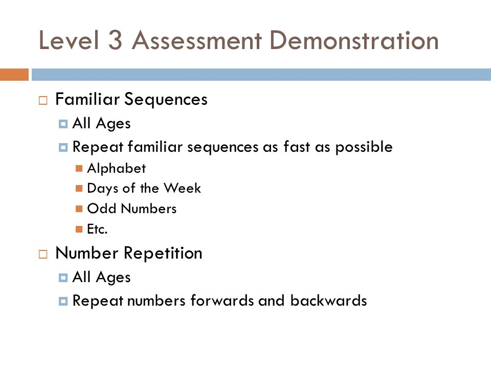 Level 3 Assessment Demonstration