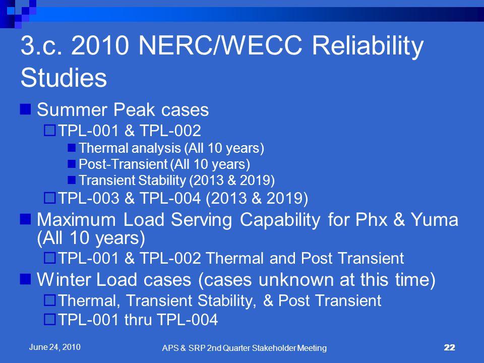 3.c. 2010 NERC/WECC Reliability Studies
