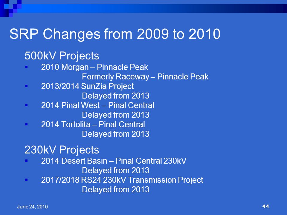 SRP Changes from 2009 to 2010 500kV Projects 230kV Projects
