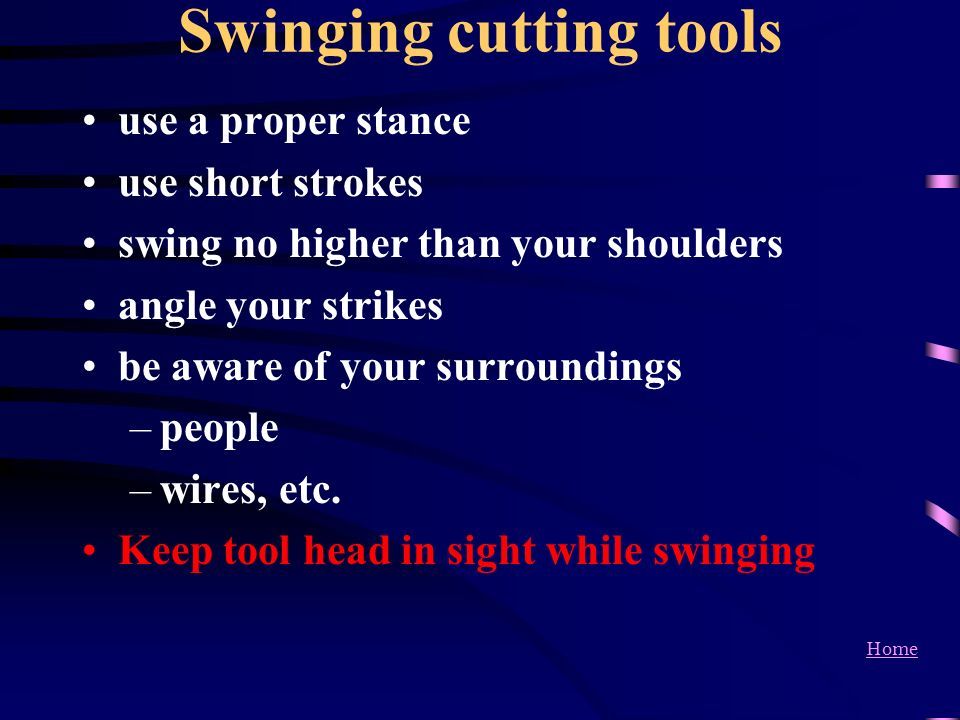Swinging cutting tools