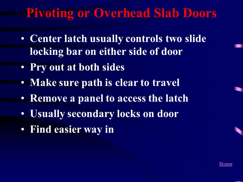Pivoting or Overhead Slab Doors