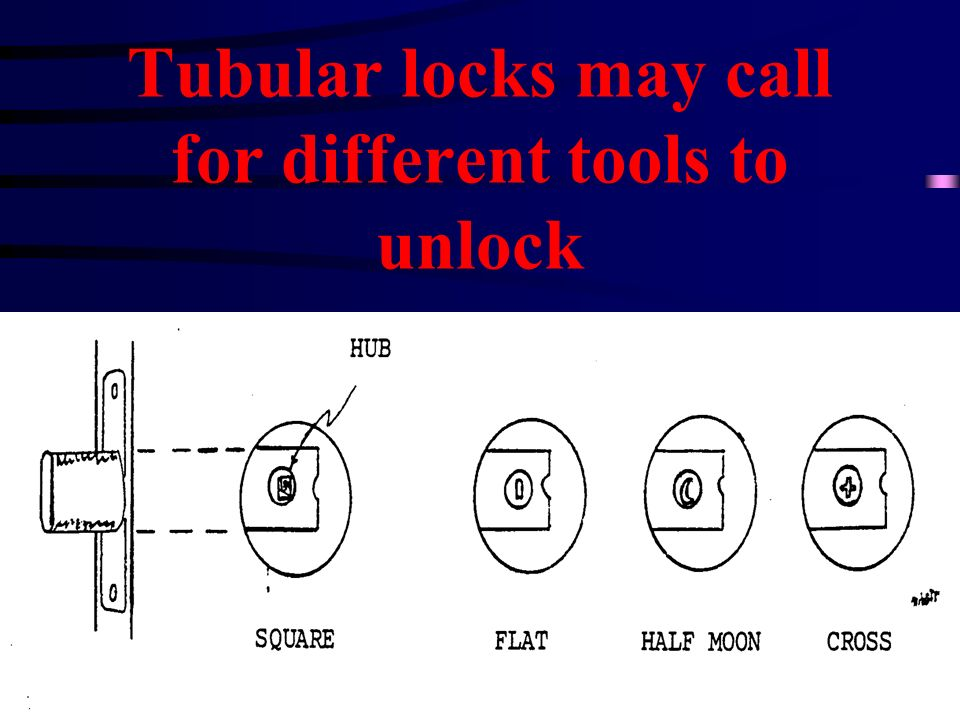Tubular locks may call for different tools to unlock