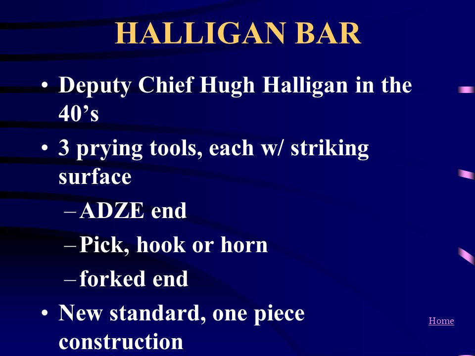 HALLIGAN BAR Deputy Chief Hugh Halligan in the 40's