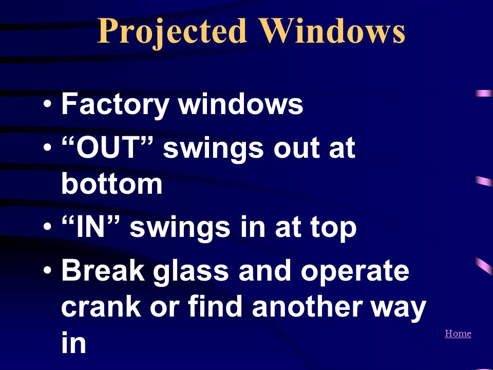 Projected Windows Factory windows OUT swings out at bottom
