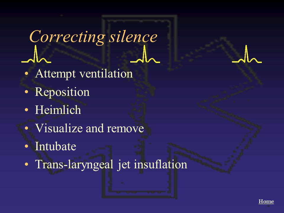 Correcting silence Attempt ventilation Reposition Heimlich