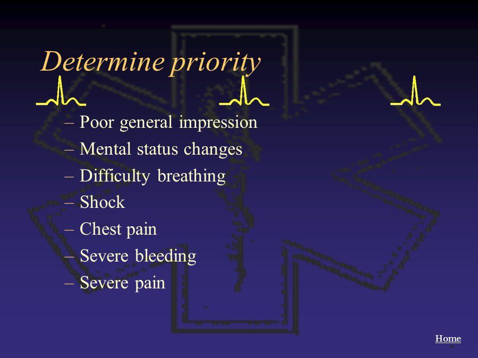 Determine priority Poor general impression Mental status changes