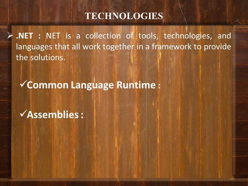 Common Language Runtime : Assemblies :