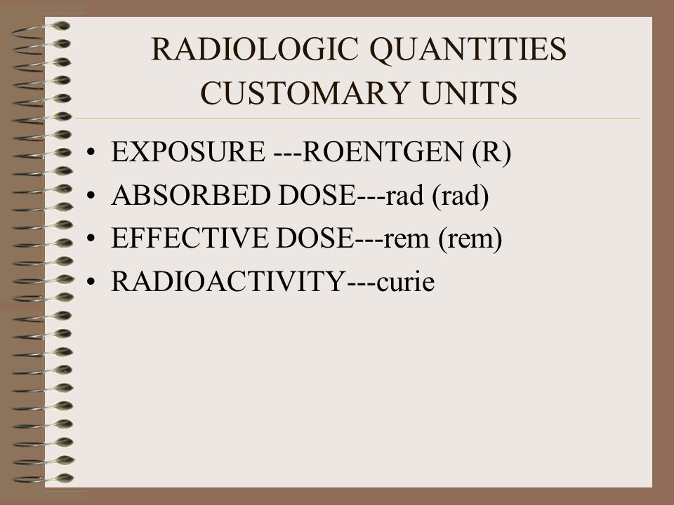 RADIOLOGIC QUANTITIES CUSTOMARY UNITS
