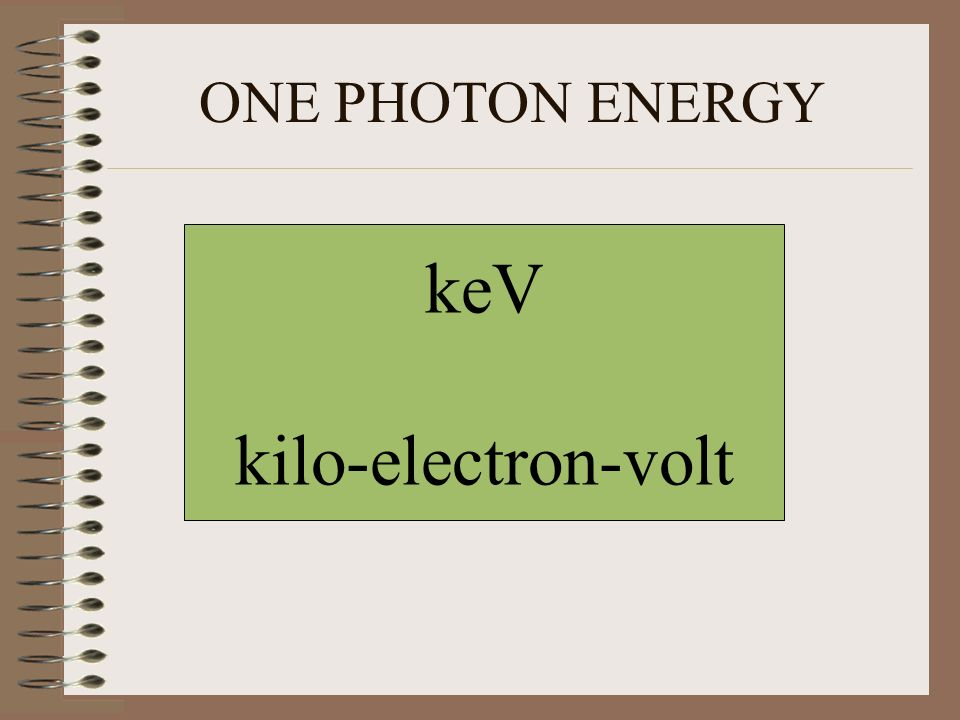 ONE PHOTON ENERGY keV kilo-electron-volt