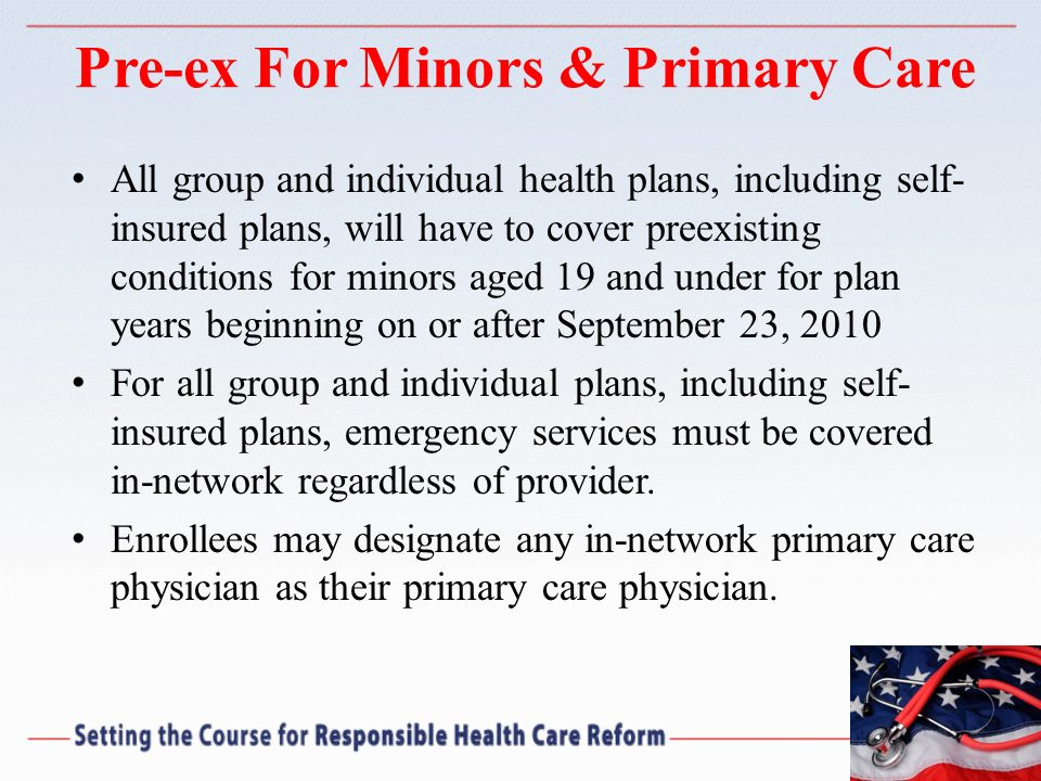 Pre-ex For Minors & Primary Care