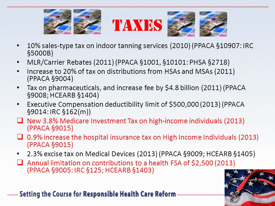 Taxes 10% sales-type tax on indoor tanning services (2010) (PPACA §10907: IRC §5000B) MLR/Carrier Rebates (2011) (PPACA §1001, §10101: PHSA §2718)
