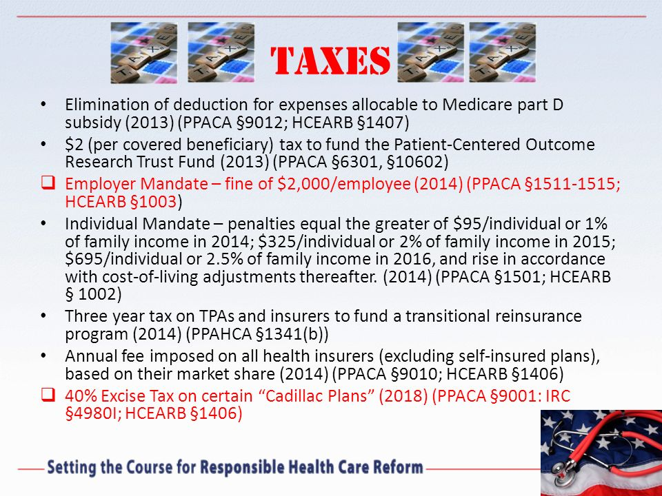 Taxes Elimination of deduction for expenses allocable to Medicare part D subsidy (2013) (PPACA §9012; HCEARB §1407)