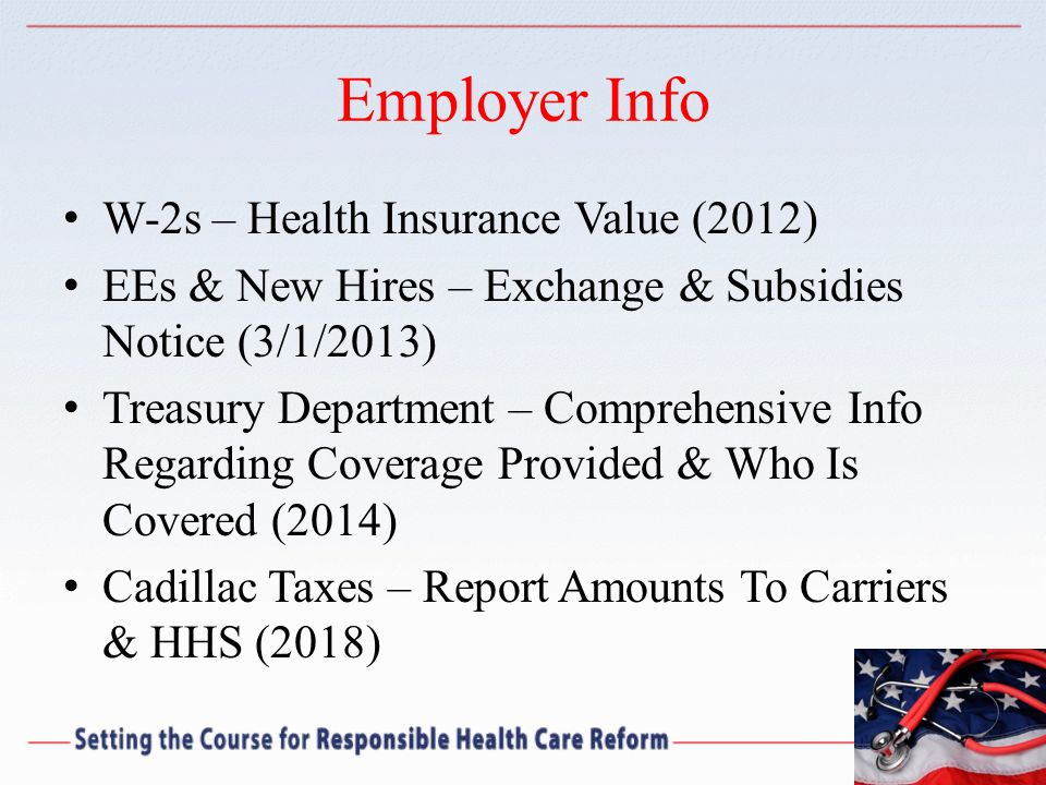 Employer Info W-2s – Health Insurance Value (2012)