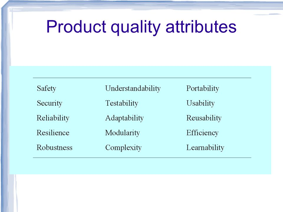 Product quality attributes