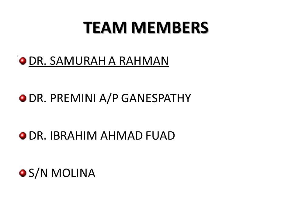 TEAM MEMBERS DR. SAMURAH A RAHMAN DR. PREMINI A/P GANESPATHY