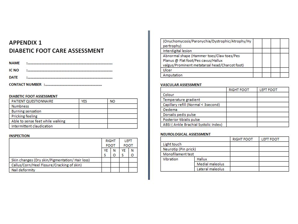 Diabetic Foot Assessment Form