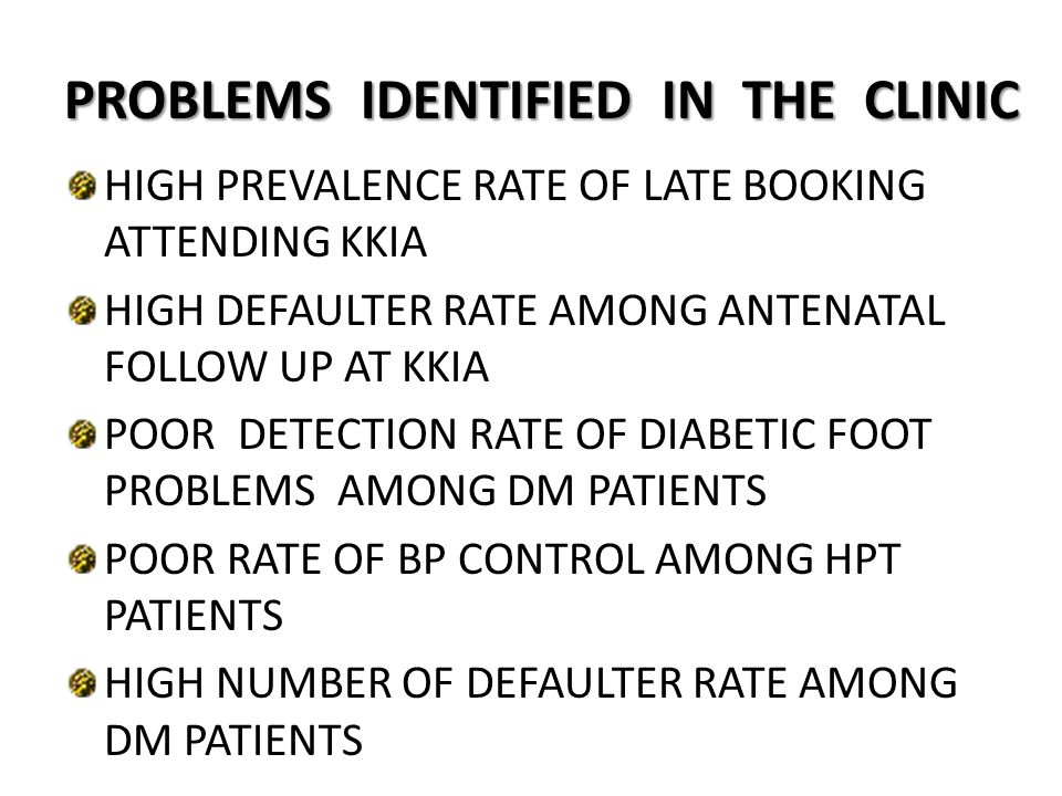 PROBLEMS IDENTIFIED IN THE CLINIC