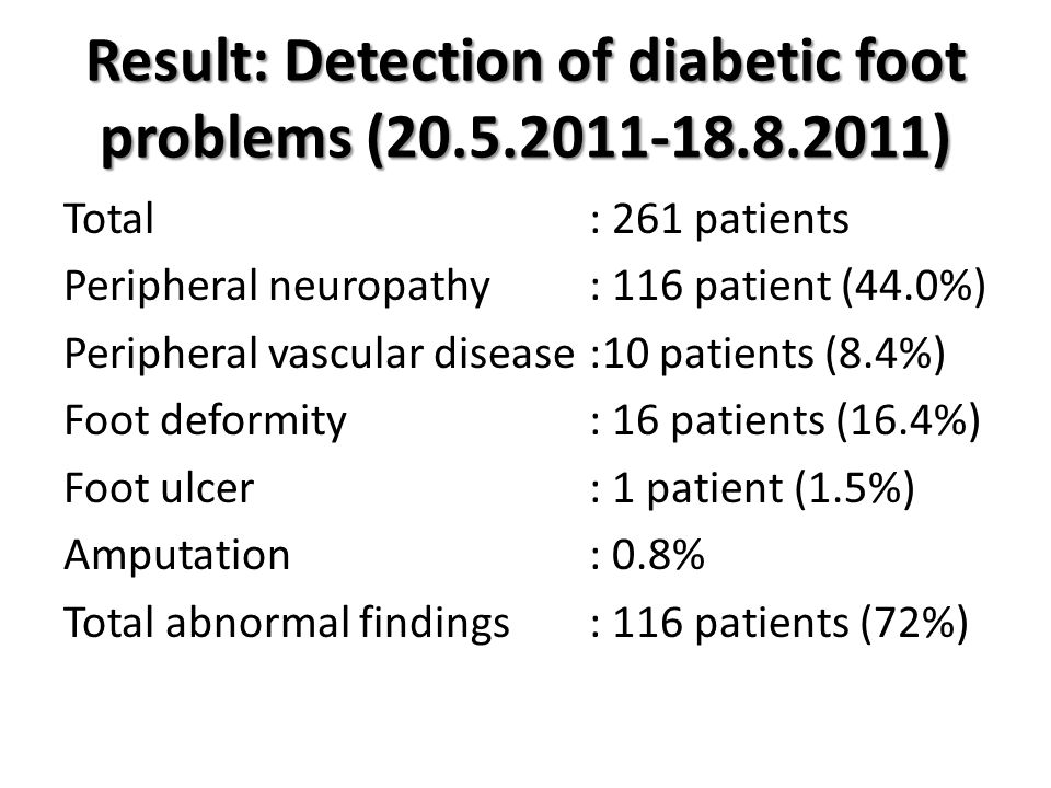 Result: Detection of diabetic foot problems (20.5.2011-18.8.2011)