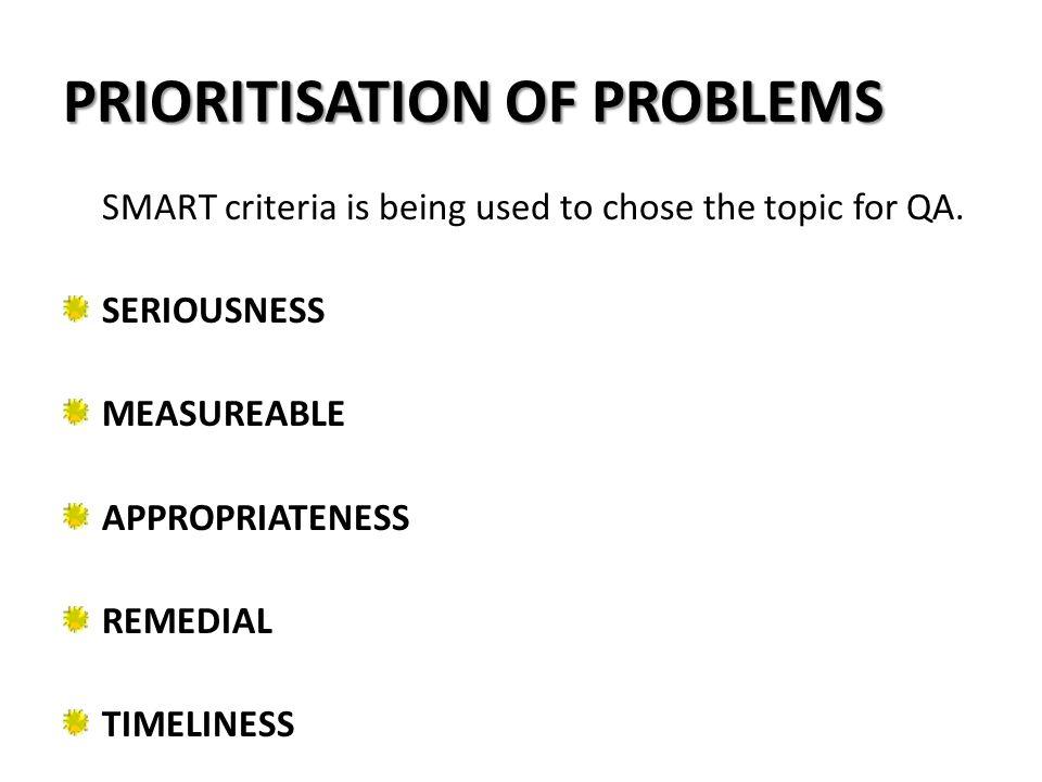 PRIORITISATION OF PROBLEMS