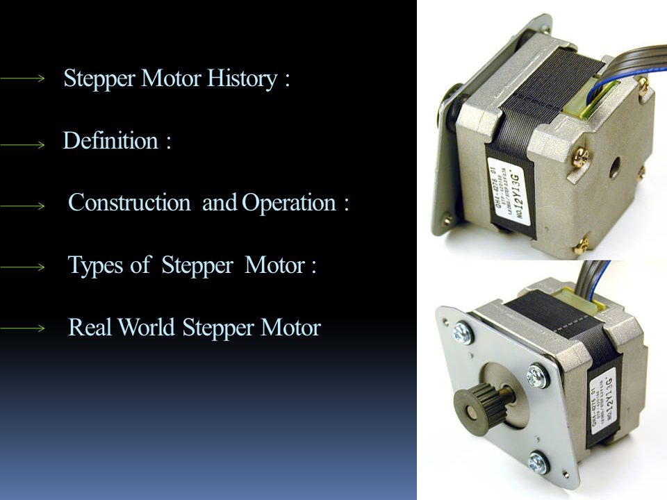 Stepper Motor History : Definition : Construction and Operation : Types of Stepper Motor : Real World Stepper Motor