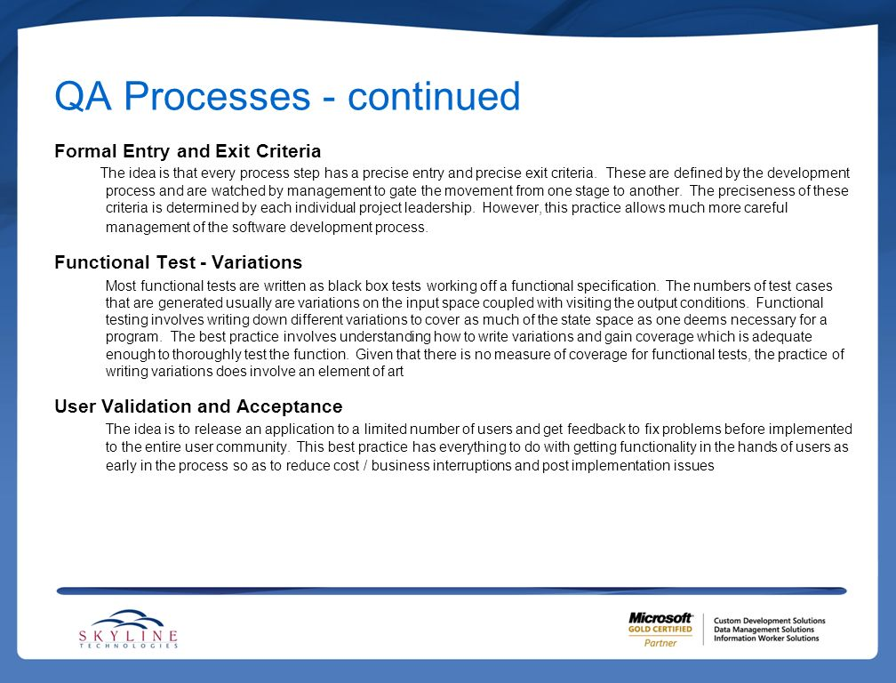 QA Processes - continued