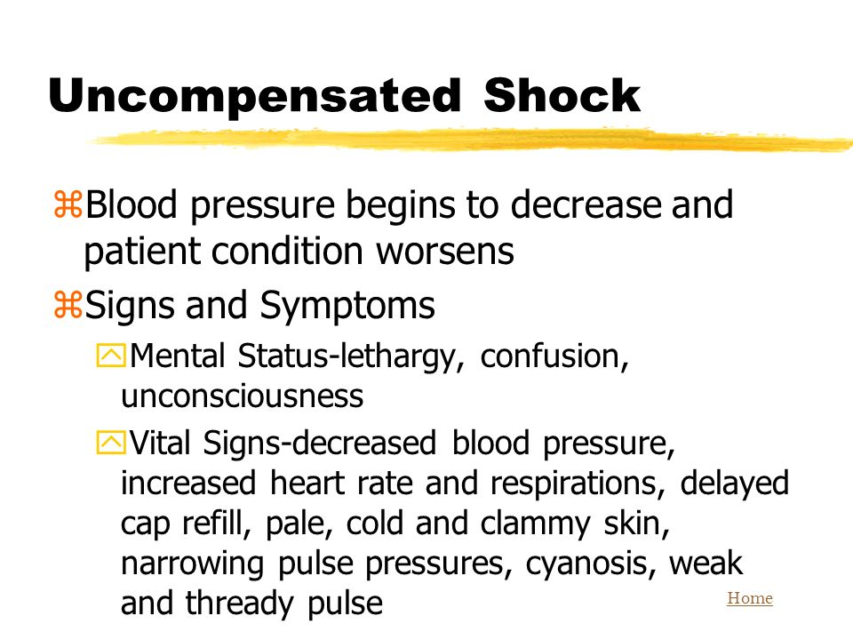 Uncompensated Shock Blood pressure begins to decrease and patient condition worsens. Signs and Symptoms.