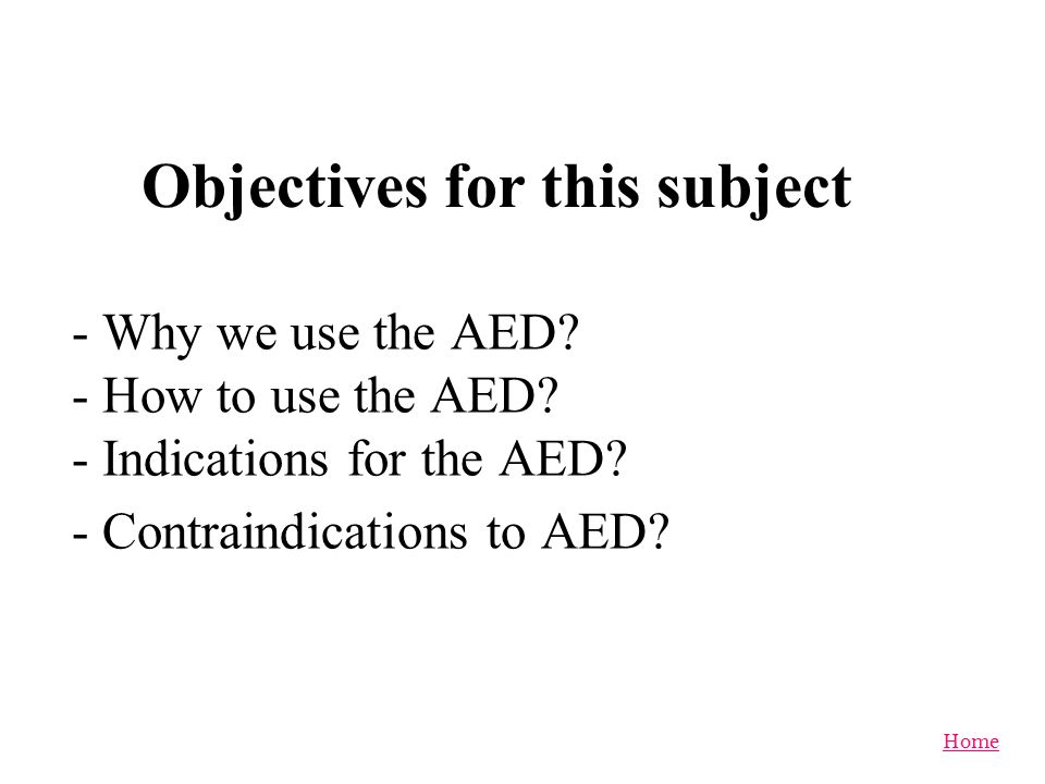Objectives for this subject