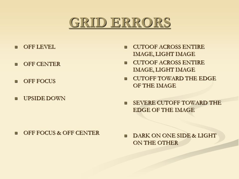 GRID ERRORS OFF LEVEL OFF CENTER OFF FOCUS UPSIDE DOWN