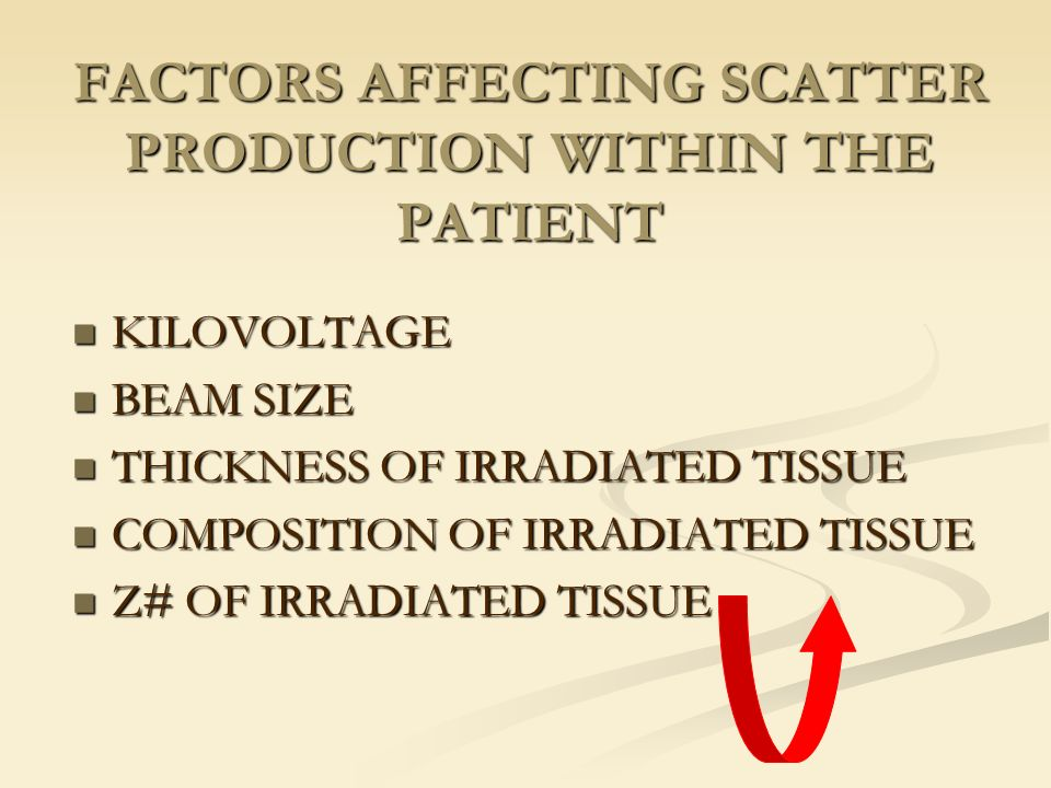 FACTORS AFFECTING SCATTER PRODUCTION WITHIN THE PATIENT