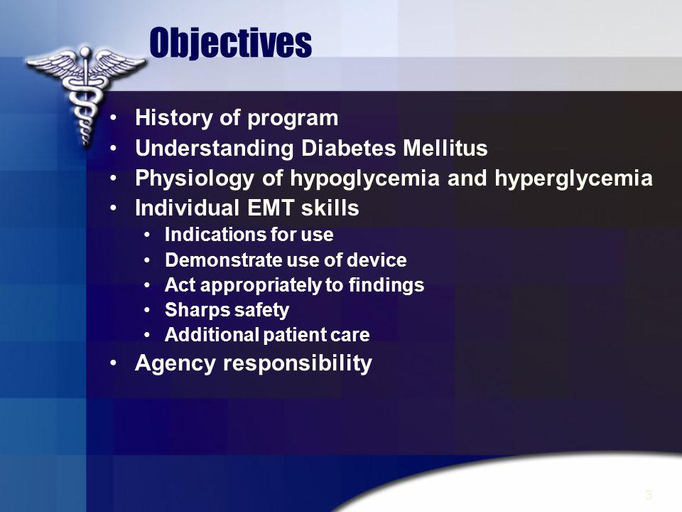 Objectives History of program Understanding Diabetes Mellitus