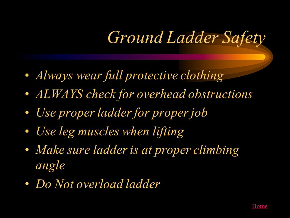 Ground Ladder Safety Always wear full protective clothing