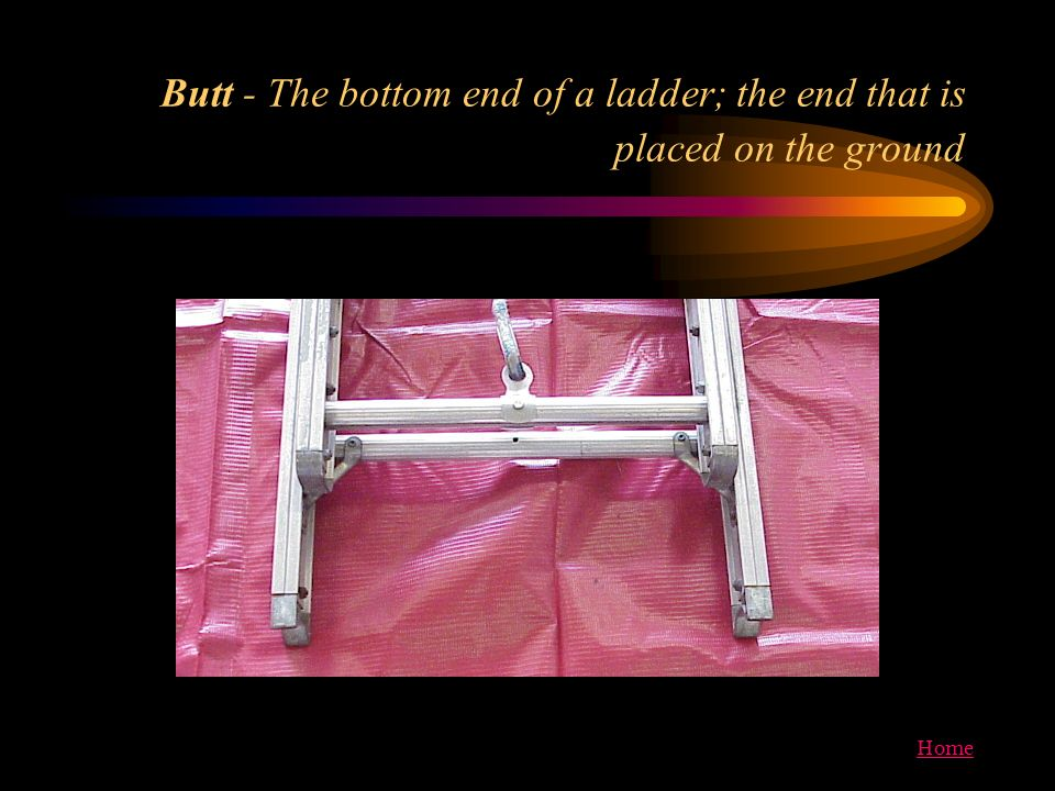 Butt - The bottom end of a ladder; the end that is placed on the ground