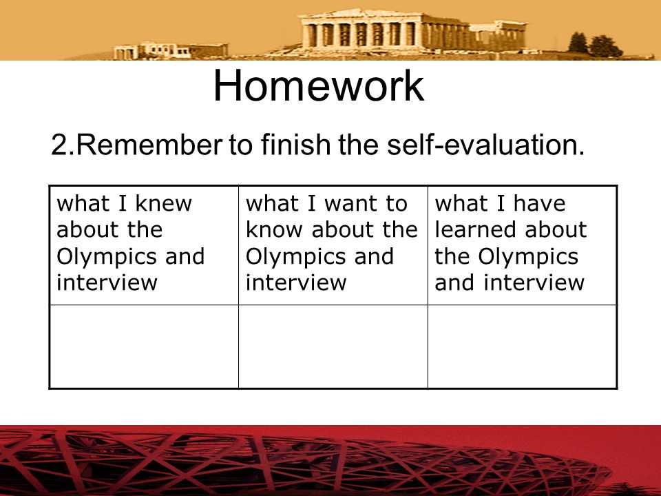 Homework 2.Remember to finish the self-evaluation.
