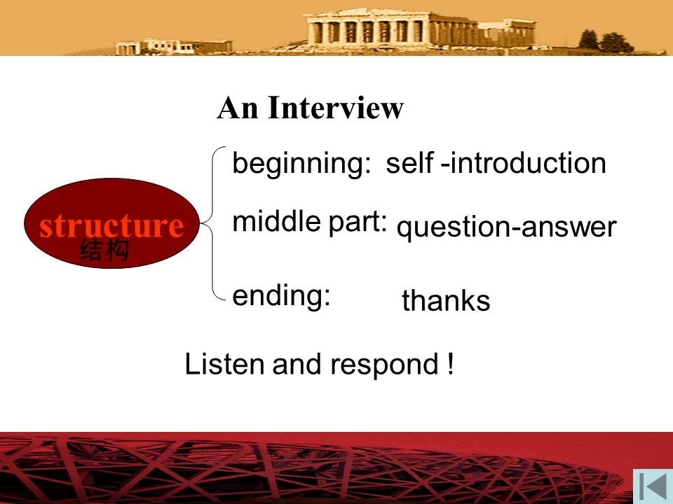 structure An Interview beginning: self -introduction middle part: