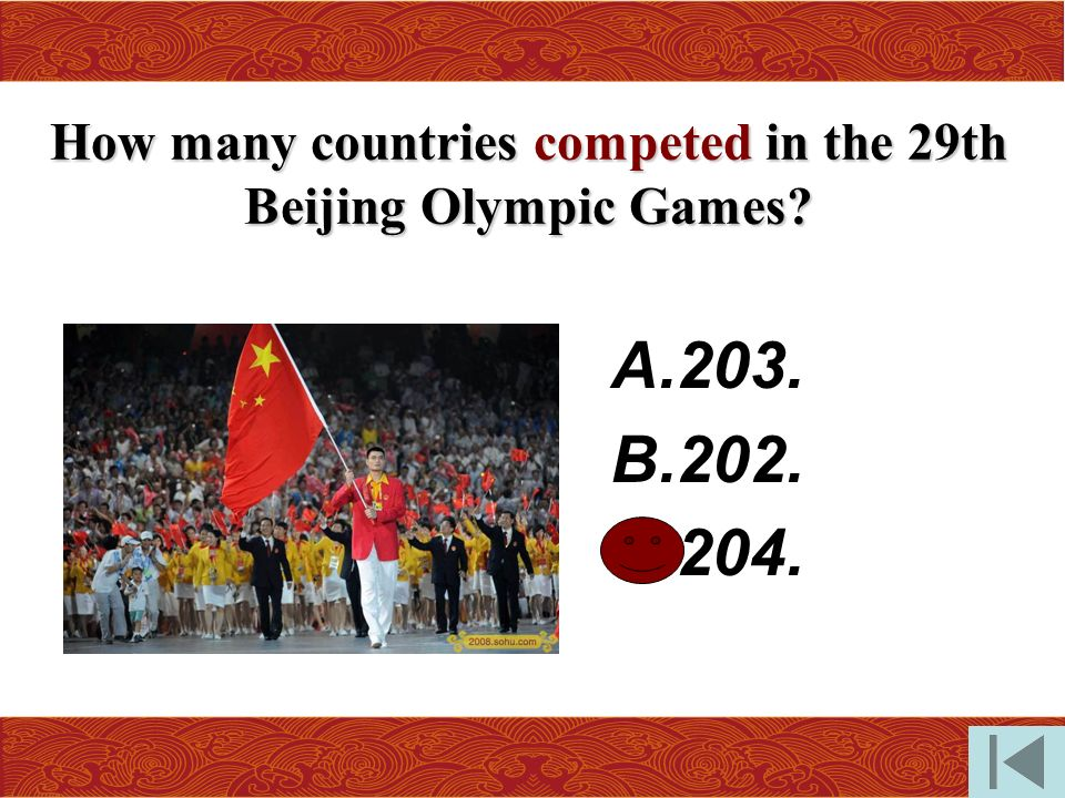 How many countries competed in the 29th Beijing Olympic Games