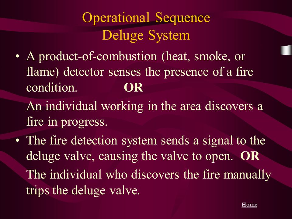 Operational Sequence Deluge System