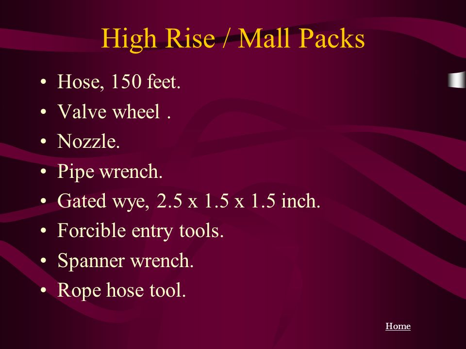 High Rise / Mall Packs Hose, 150 feet. Valve wheel . Nozzle.