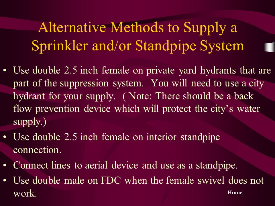 Alternative Methods to Supply a Sprinkler and/or Standpipe System