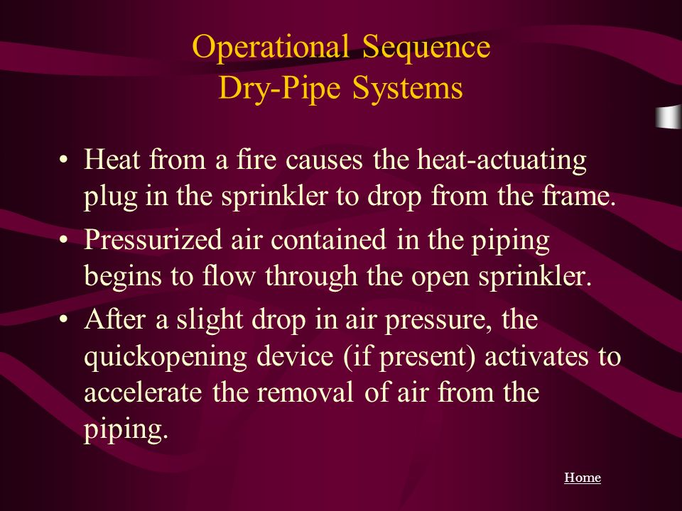 Operational Sequence Dry-Pipe Systems